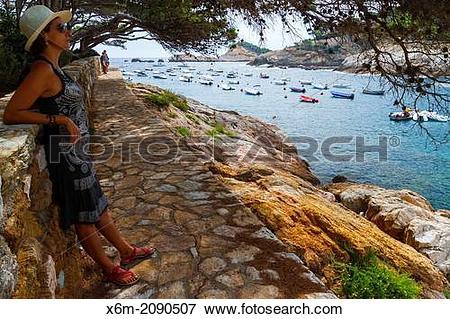 Picture of Woman in Cala Aiguafreda. Begur. Costa Brava, Gerona.