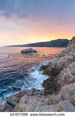 Stock Illustration of Rocky Costa Brava Coast k21917595.