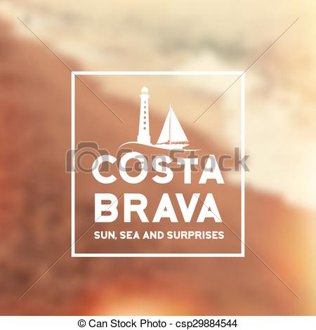EPS Vector of Costa Brava souvenir print with text for t.