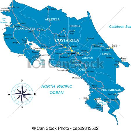 Costa rica map Clip Art and Stock Illustrations. 724 Costa rica.