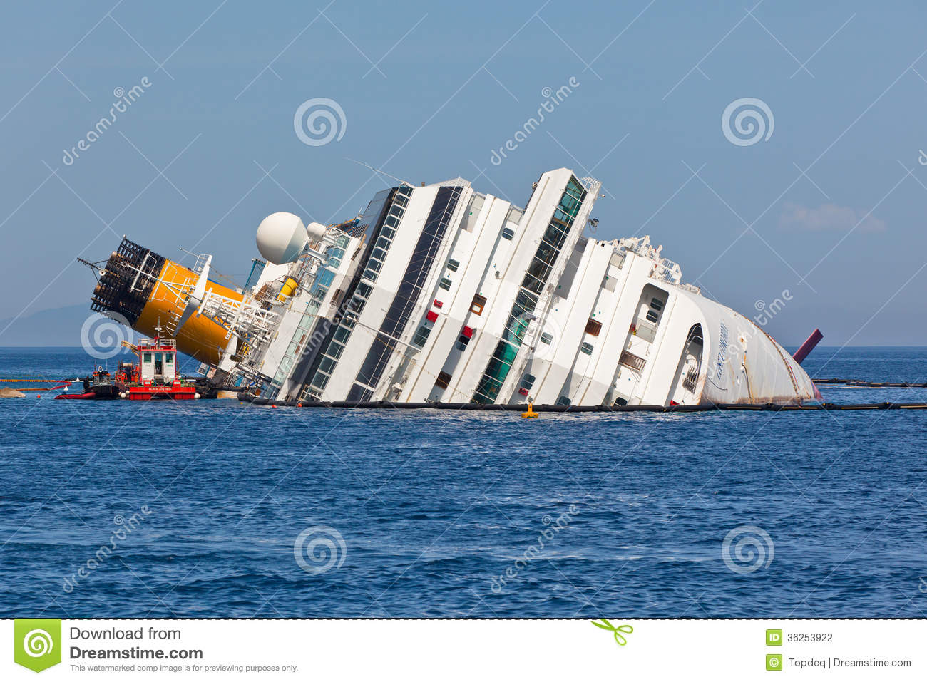Costa Concordia Cruise Ship After Shipwreck Editorial Photography.