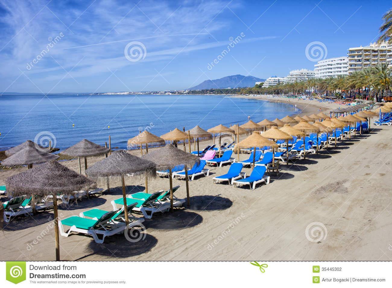 Beach On Costa Del Sol In Marbella Stock Photography.