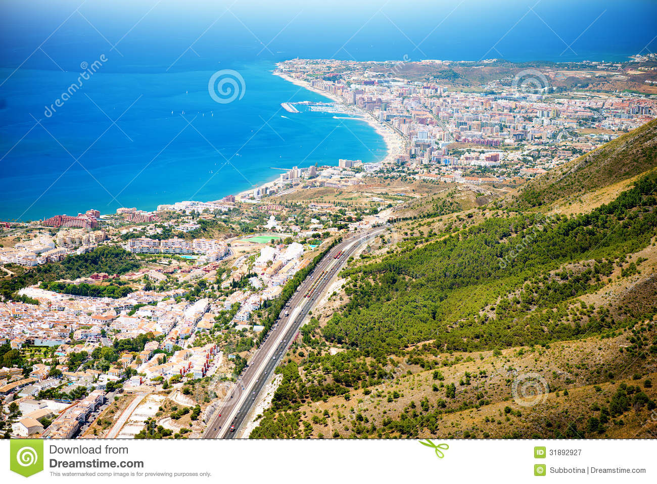 Aerial Panoramic View Of Costa Del Sol Royalty Free Stock.