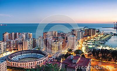 Panorama Of Malaga Cityscape, Costa Del Sol, Spain Stock Photo.