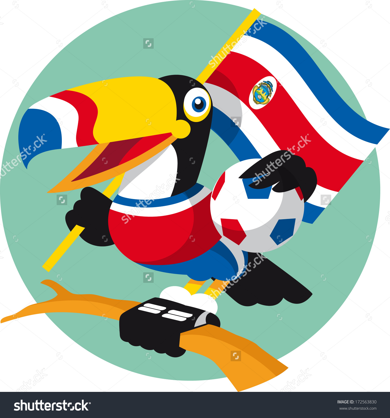 Costa Rica Toucan Soccer Mascot Stock Vector 172563830.