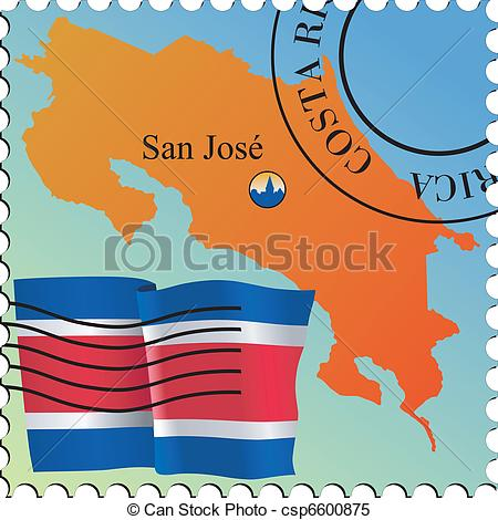 Vector Clipart of mail to/from Costa Rica csp6591840.