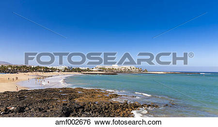 Stock Images of Spain, Canary Islands, Lanzarote, beach at Costa.
