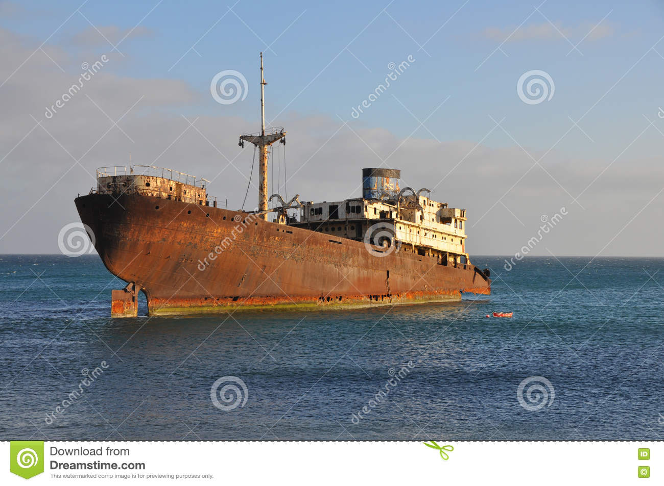 Old Ship Wreck On Costa Teguise Of Lanzarote, Spanish Canary.