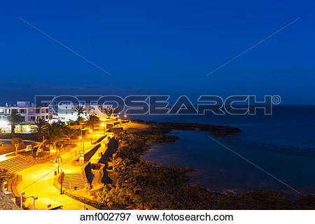 Picture of Spain, Canary Islands, Lanzarote, Costa Teguise in the.
