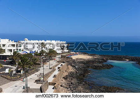 Stock Photo of Spain, Canary Islands, Lanzarote, white houses at.