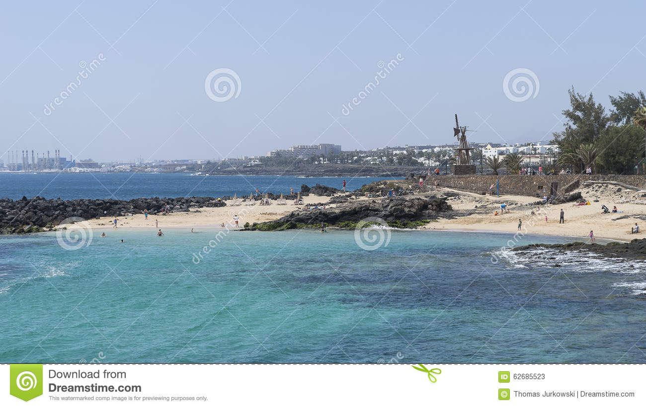 Beach In Costa Teguise Editorial Stock Photo.