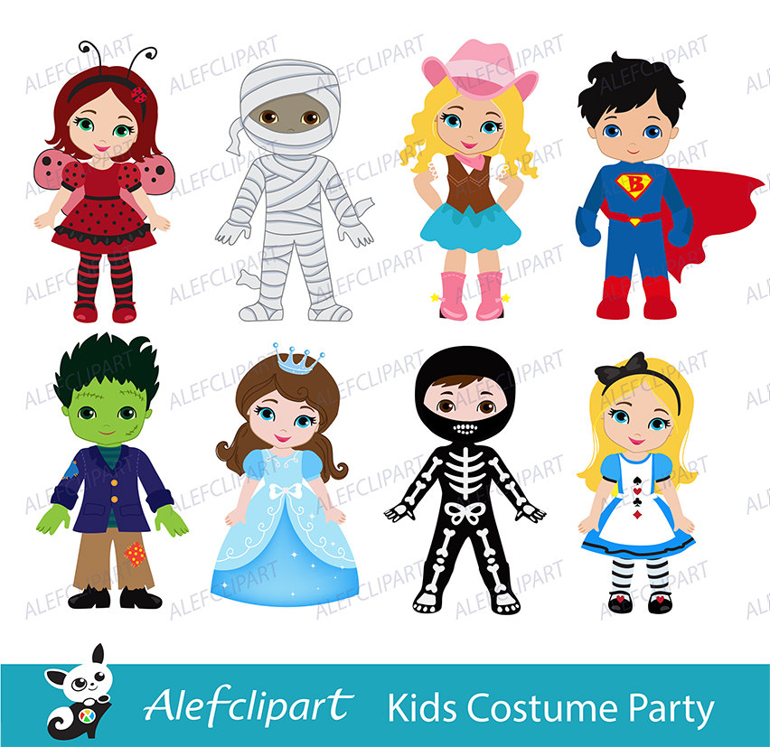 Kids dress up in halloween costumes clipart.
