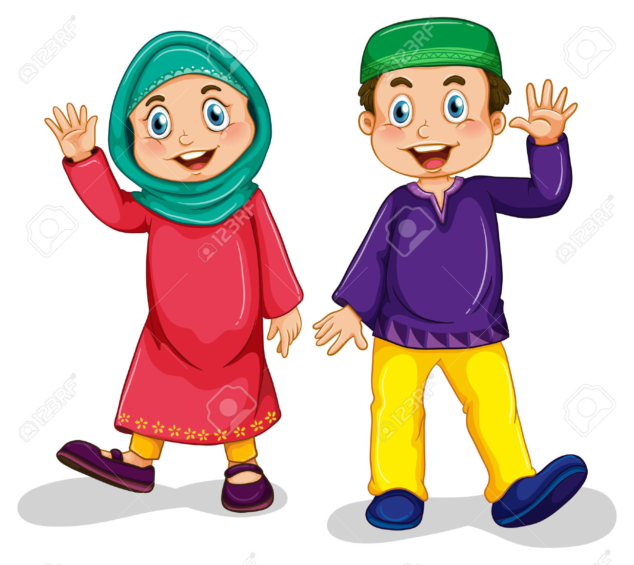 Boy And Girl Muslim In Traditional Costume Royalty Free Cliparts.