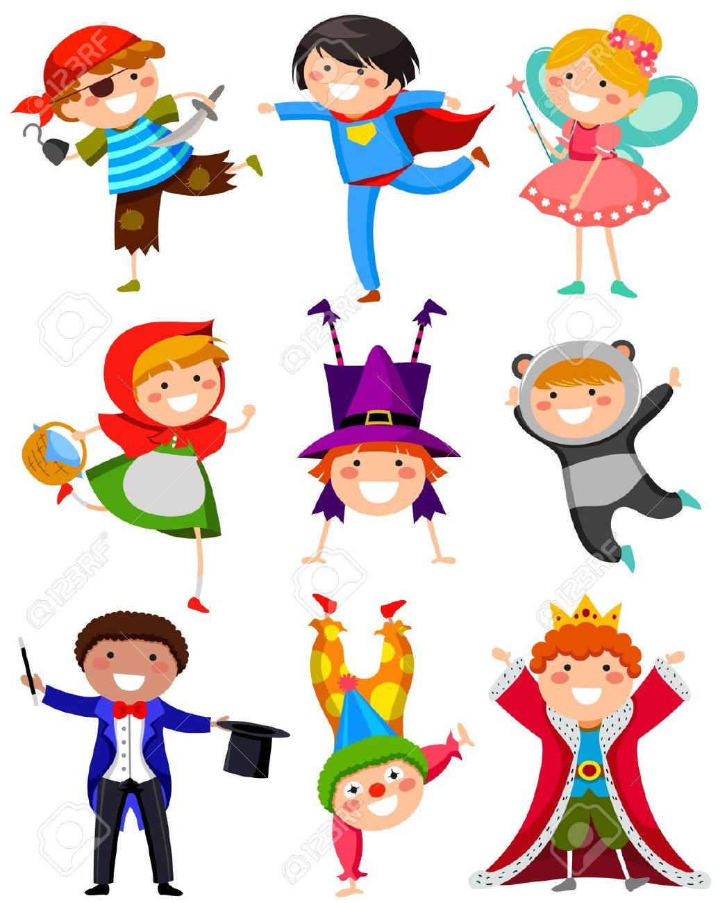 Dress up costumes clipart.