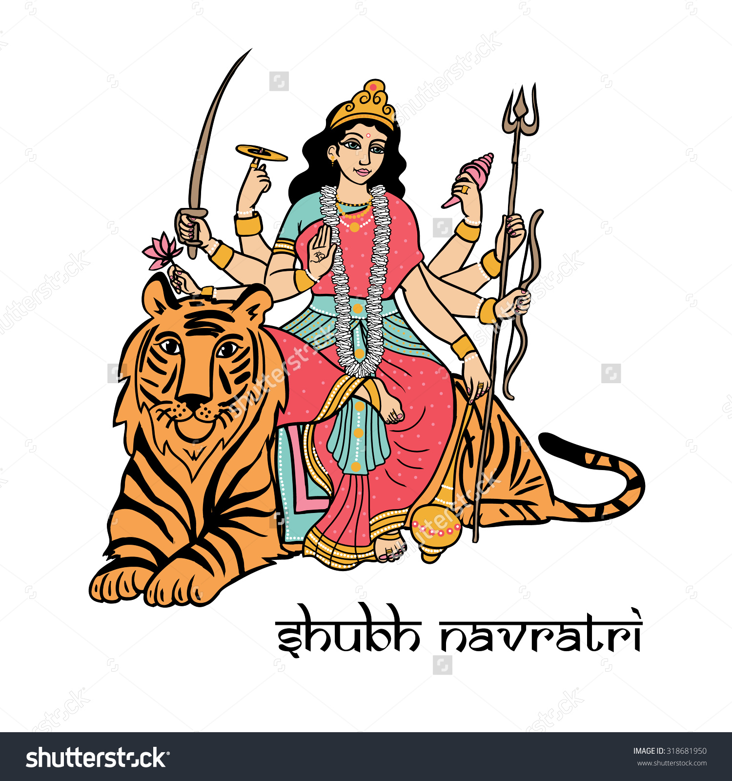 Cartoon Vector Indian Goddess Durga Sitting Stock Vector 318681950.