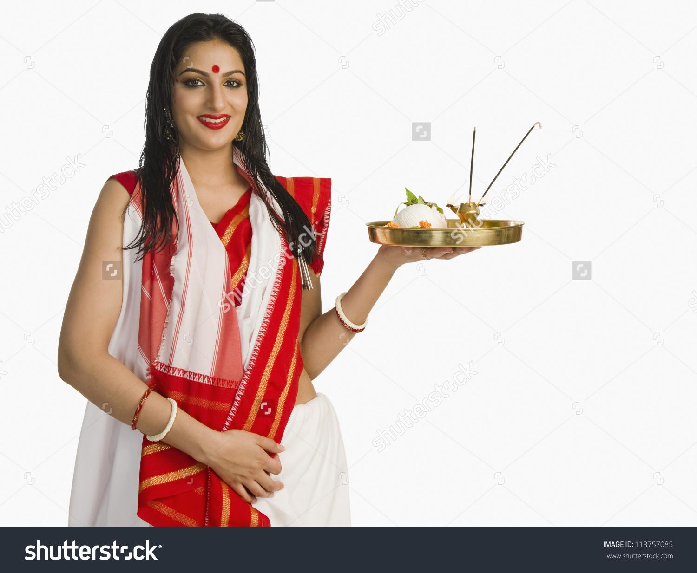 Woman Bengali Sari Holding Pooja Thali Stock Photo 113757085.