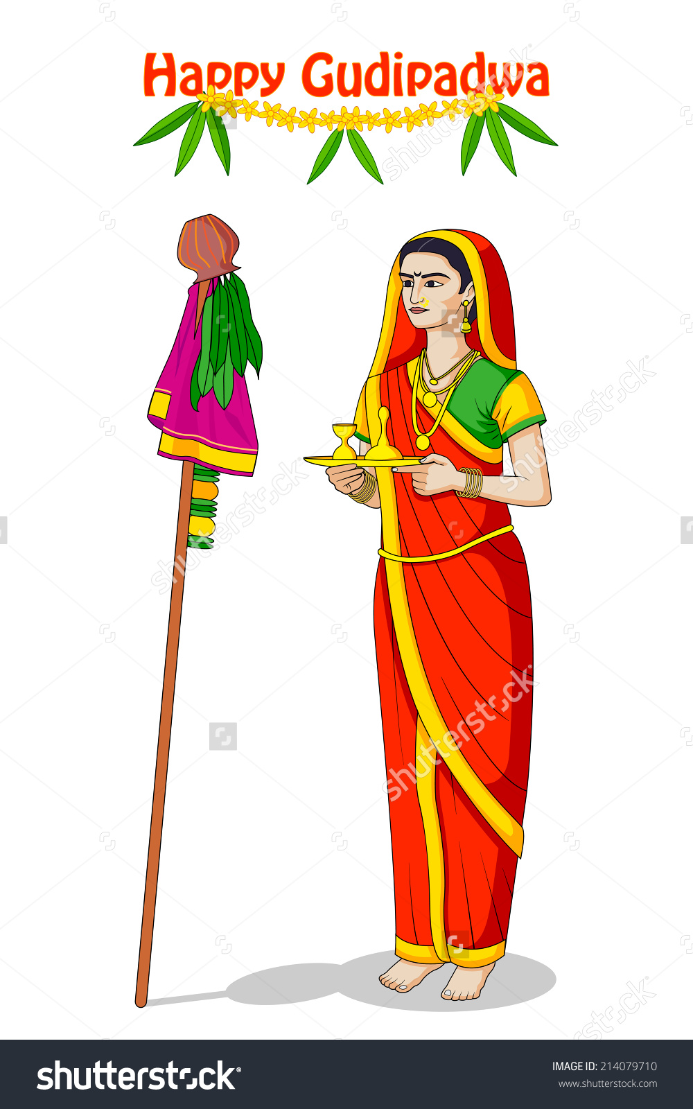 Woman Offering Prayer Happy Gudi Padwa Stock Vector 214079710.