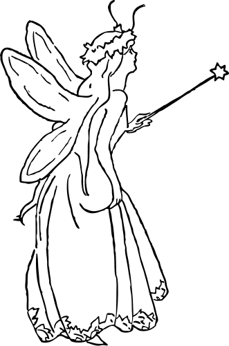 Fairy Black And White Clipart.