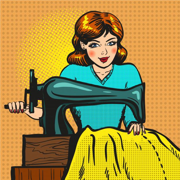 Retro pop art ilustración de costurera cosiendo en la.