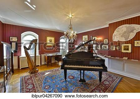 Stock Photography of Showroom with harp and grand piano, Villa.