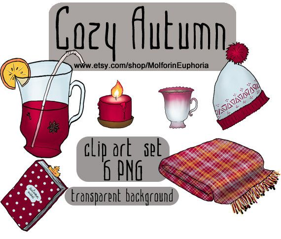 Cozy Autumn clipart, fall clip art, cosy illustration, plaid.