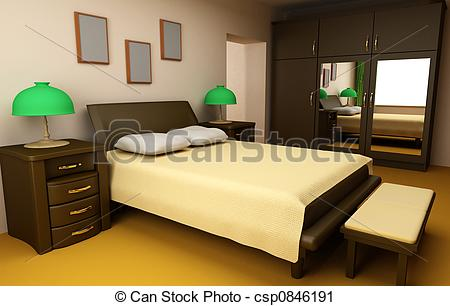 Clipart of cosy bedroom interior 3d csp0846191.