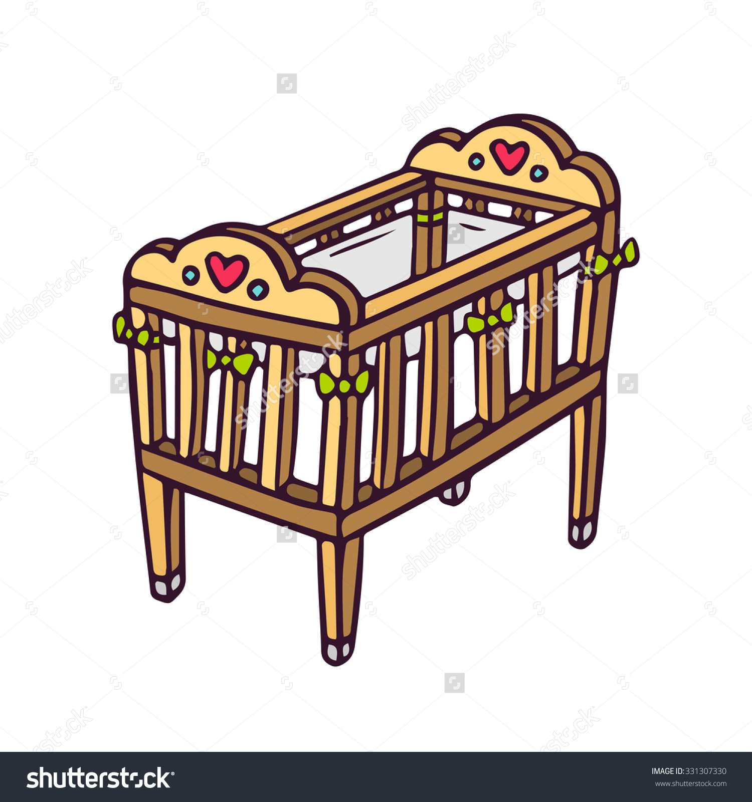 Baby cot clipart.