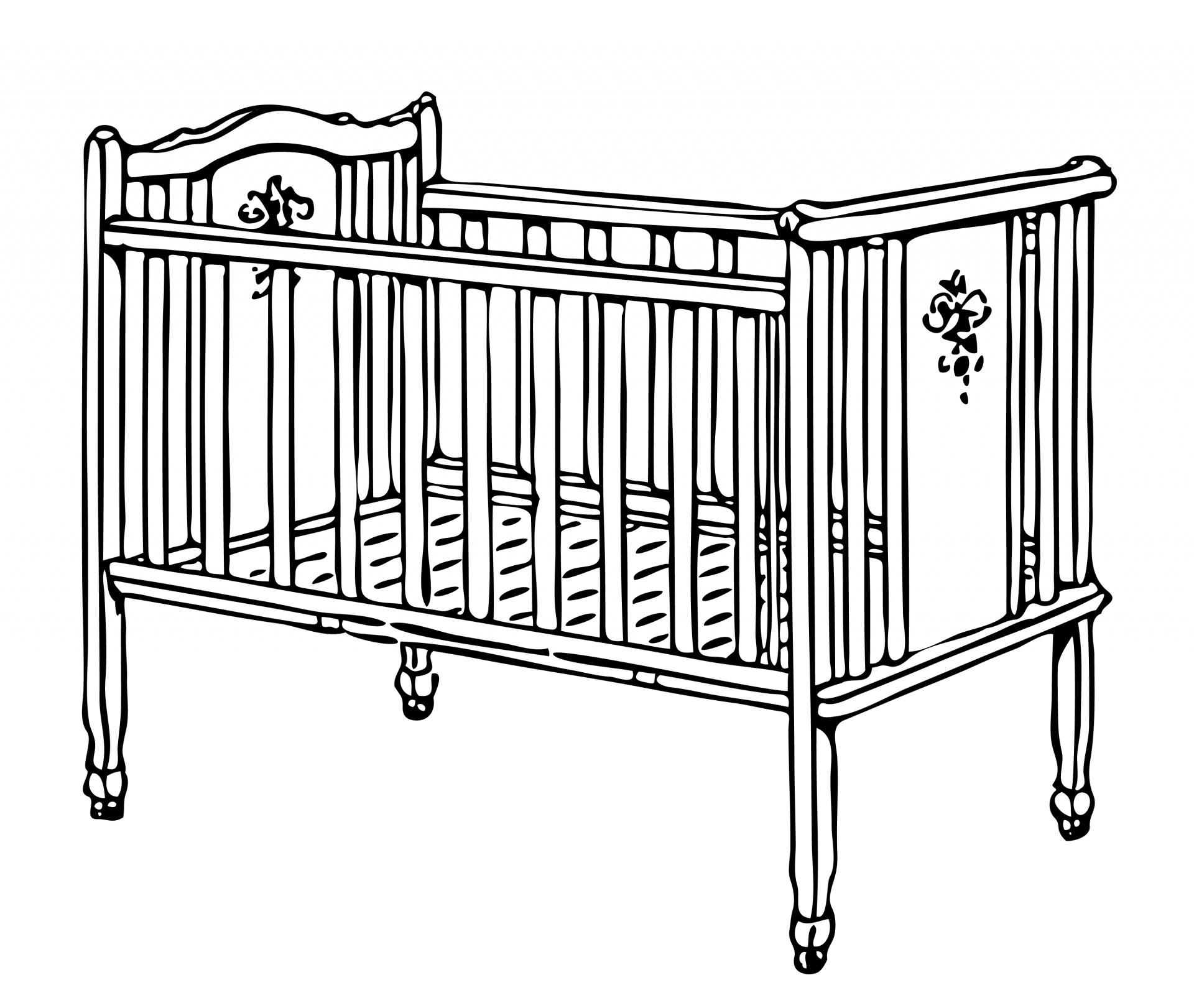 Crib, Cot Illustration Clipart Free Stock Photo.