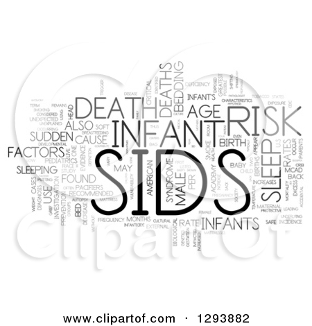 Clipart of a Grayscale SIDS Sudden Infant Death Syndrome Word Tag.