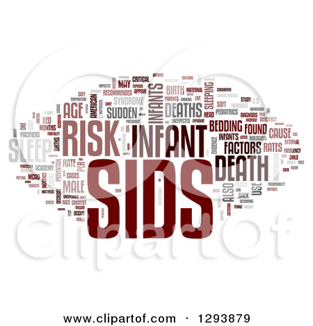Clipart of a Gray and Red SIDS Sudden Infant Death Syndrome Word.