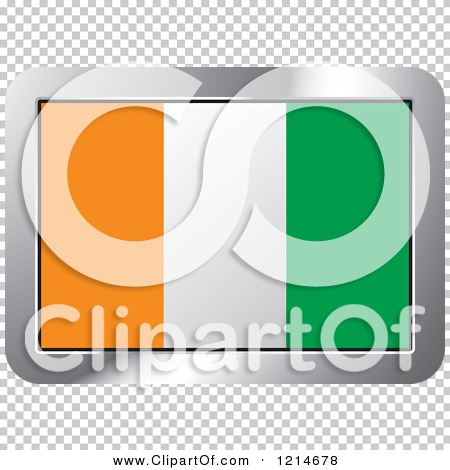 Clipart of a Cote D Ivoire Flag and Silver Frame Icon.