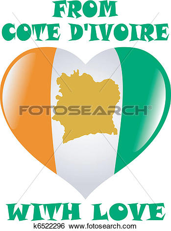 Clip Art of From Cote d'Ivoire with love k6522296.