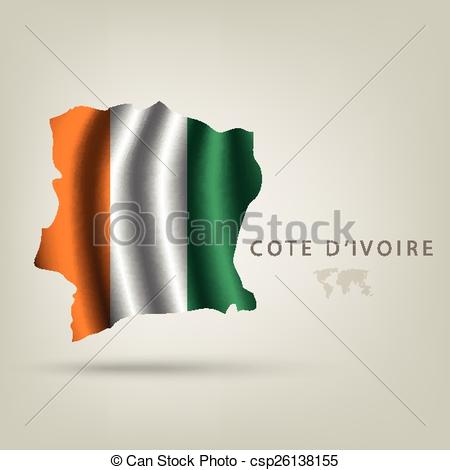 Clipart Vector of Flag of COTE D'IVOIRE as a country with shadow.