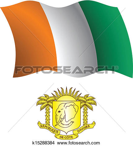 Clipart of cote d'ivoire wavy flag and coat k15288384.