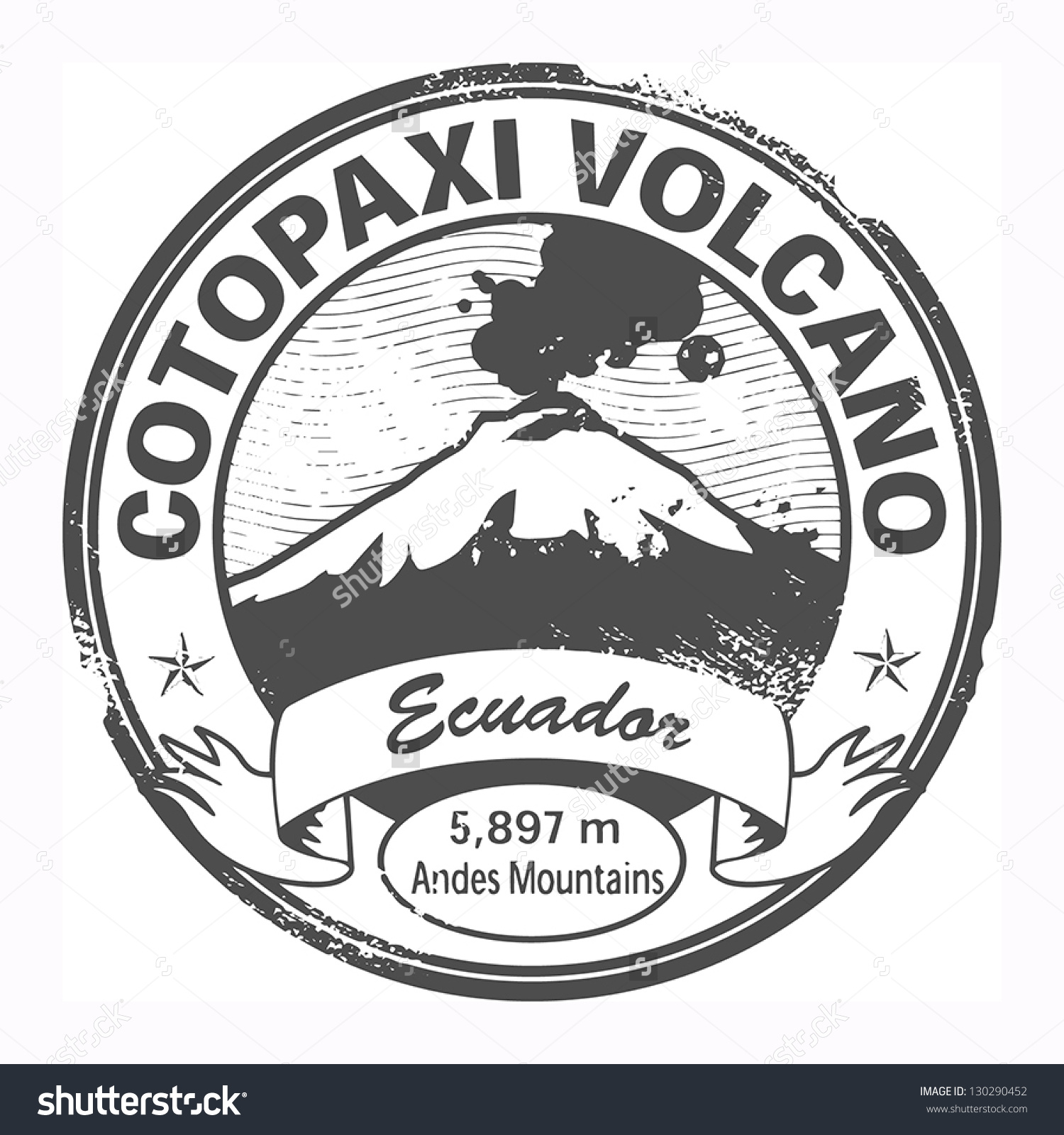 Grunge Black Stamp Words Cotopaxi Volcano Stock Vector 130290452.