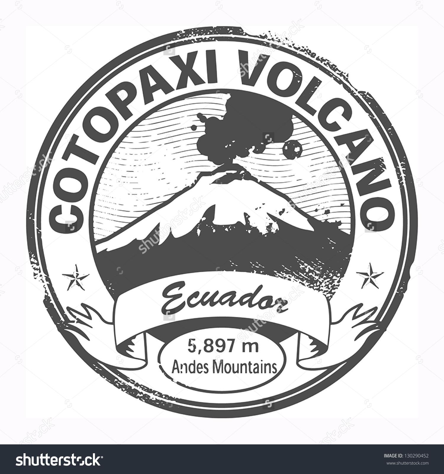 Grunge Black Stamp Words Cotopaxi Volcano Stock Vector 130290452.