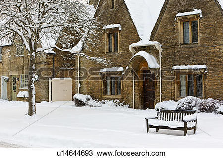 Stock Photo of England, Gloucestershire, South Cerney. Snow.