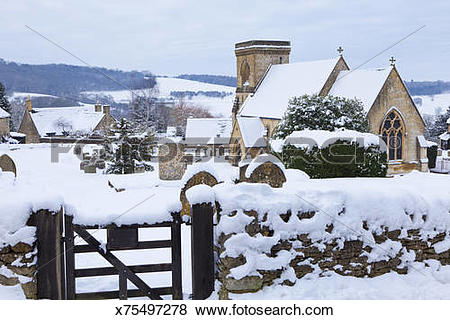 Pictures of Winter snow in the Cotswold village of Snowshill.