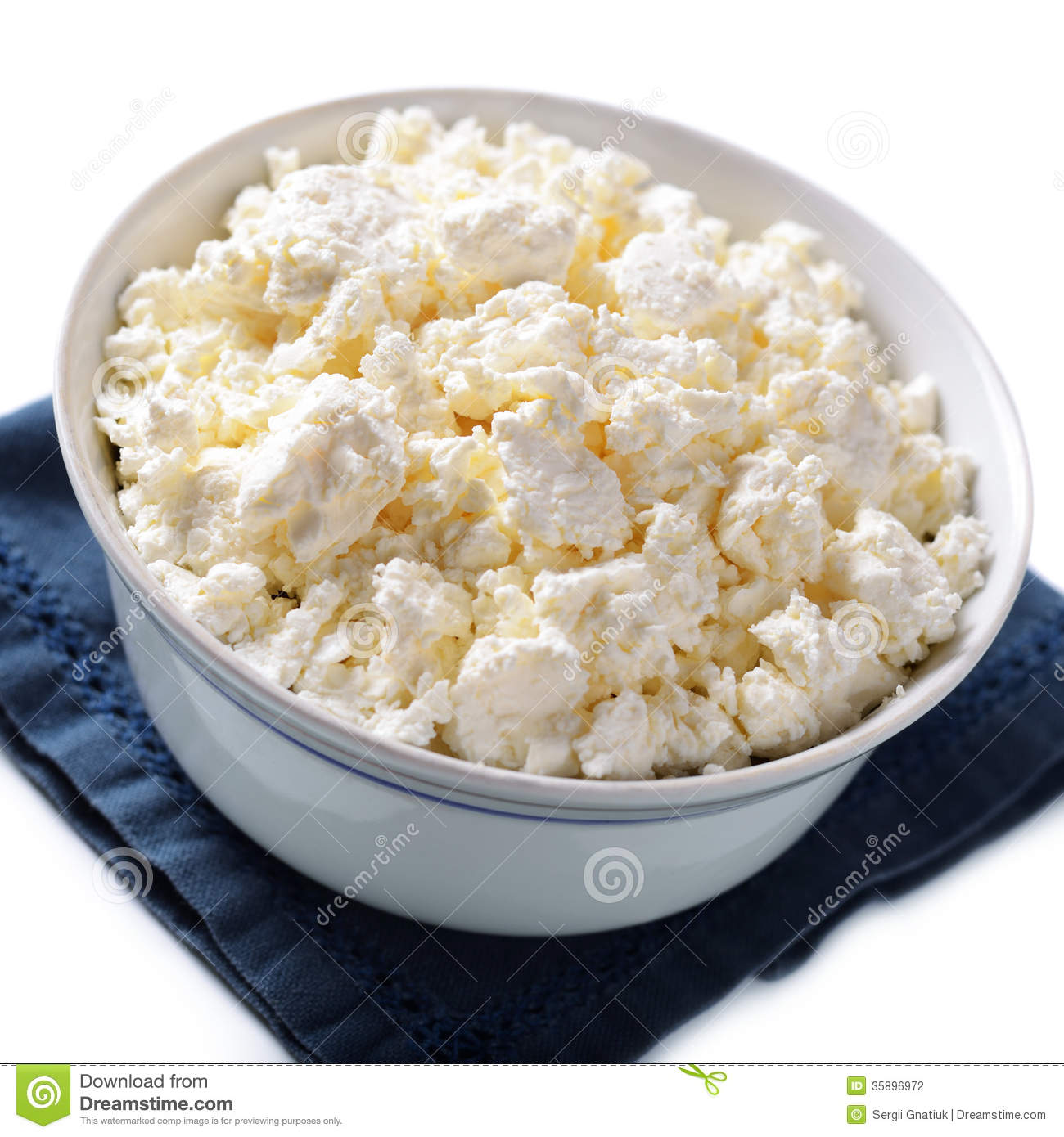 Bowl Of Crumbly Cottage Cheese Stock Photography.