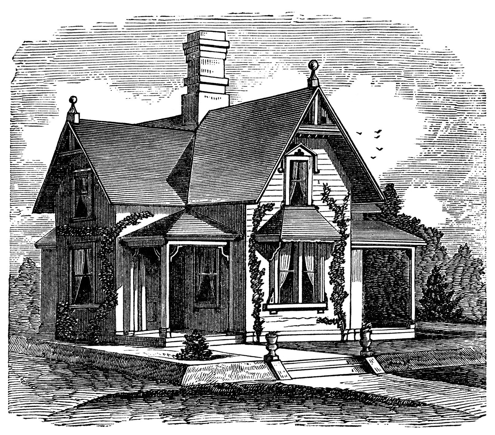 black and white clipart, Victorian cottage image.