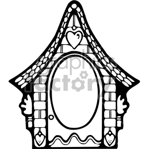 black and white frame cottage clipart. Royalty.