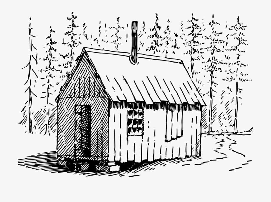 Clip Art Christmas Drawing Cottage Black And White.