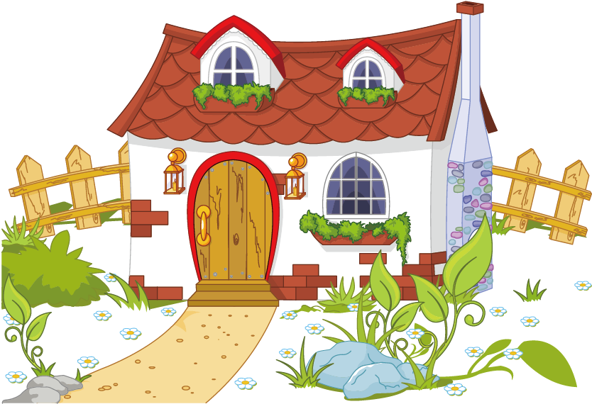 Content House And Cottage Fence Free Png Hq Clipart.