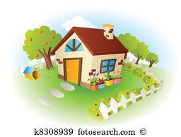Cottage garden Clipart and Illustration. 554 cottage garden clip.