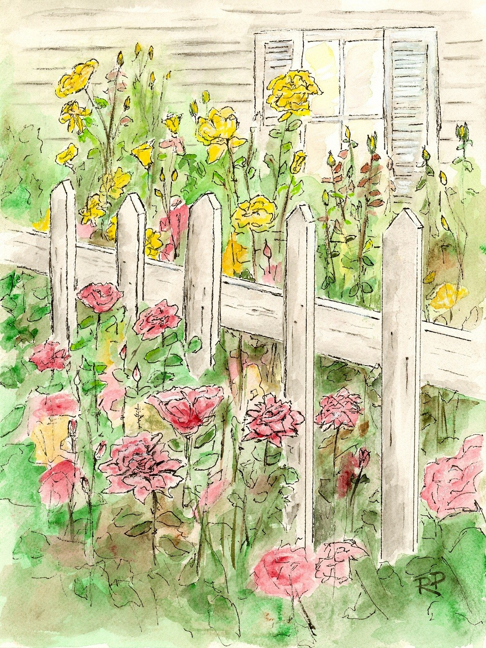 Cottage Garden watercolor print watercolor art garden by RPeppers.