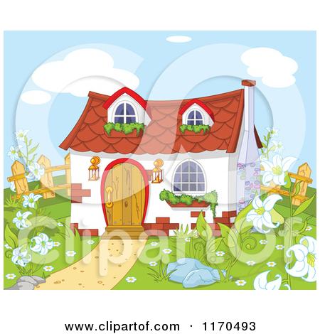 Cartoon of a Cute Gnome Cottage in a Garden.