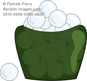 Clip Art Illustration of a Jar of Cotton Balls.