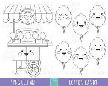 50% SALE COTTON CANDY clipart, candie clipart, sweet treats, black and white.