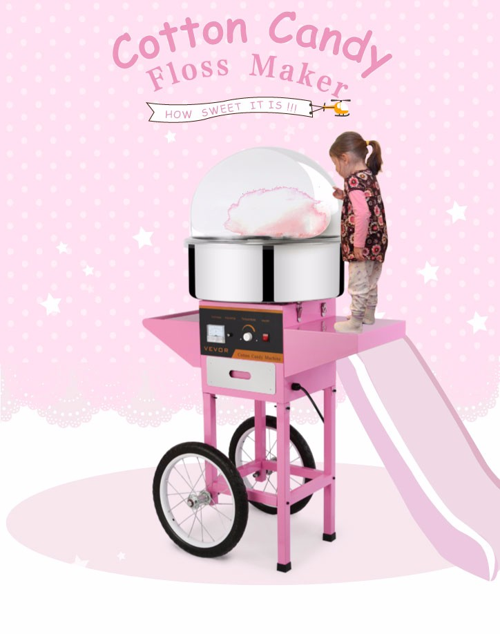 Commercial Cotton Candy Machine Kit Electric 1030w Floss Maker With Cart  Cover.