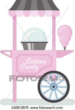 Cotton candy machine flat illustration Clip Art.